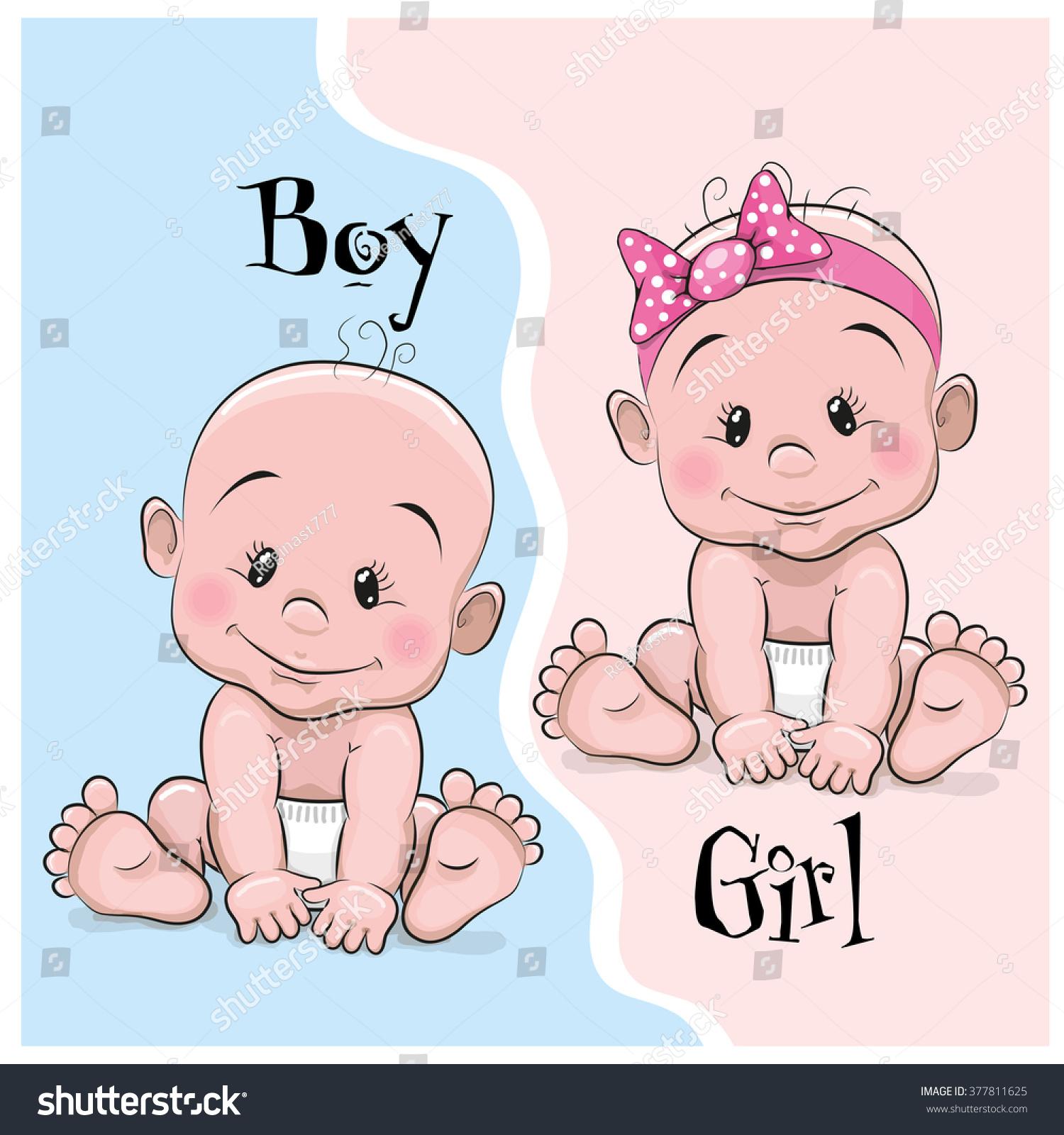 Two Cute Cartoon Babies Boy Girl Stock Vector 377811625 - Shutterstock-9984