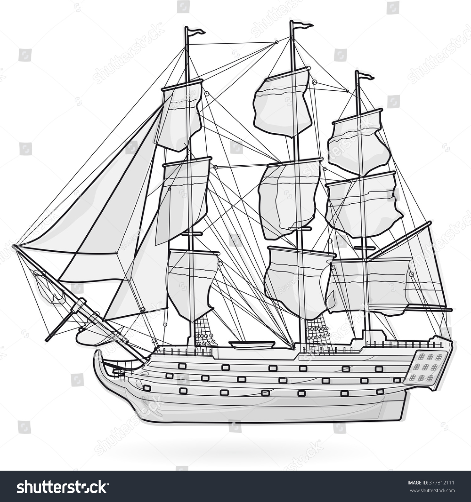 Big Old Wooden Historical Sailing Wire Stock Vector Royalty Free Wiring A Boat From Scratch On White With Sails Mast Brown