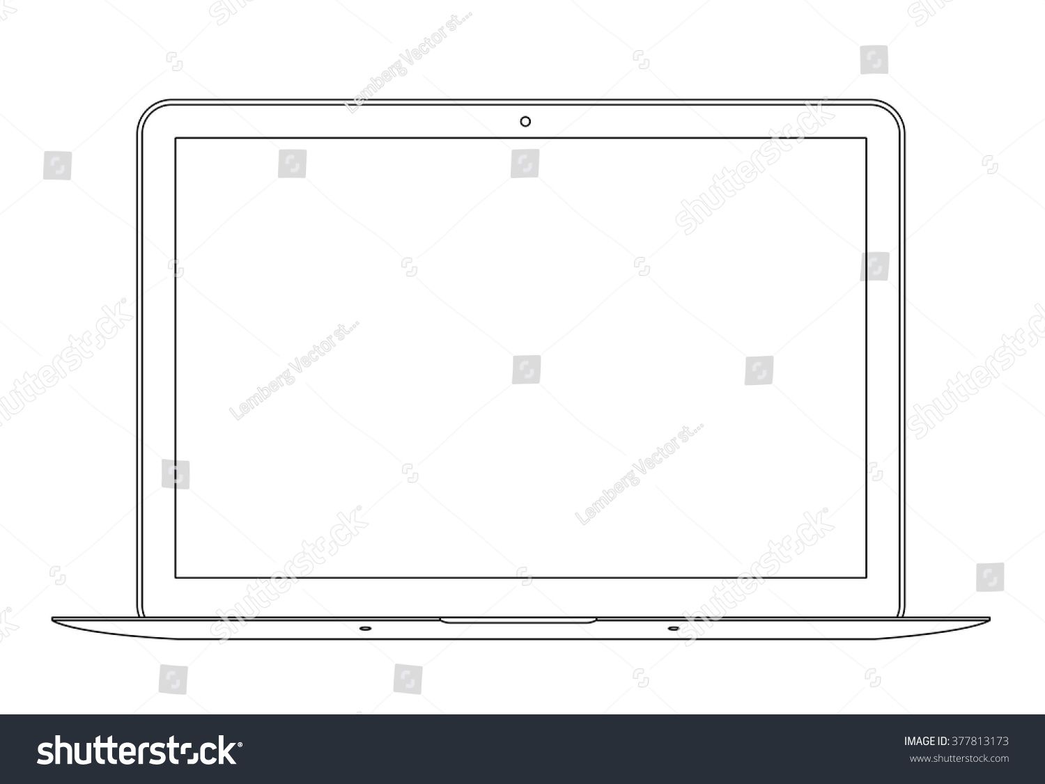 Outline Drawing Laptop Elegant Thin Line Stock Vector 377813173 ...