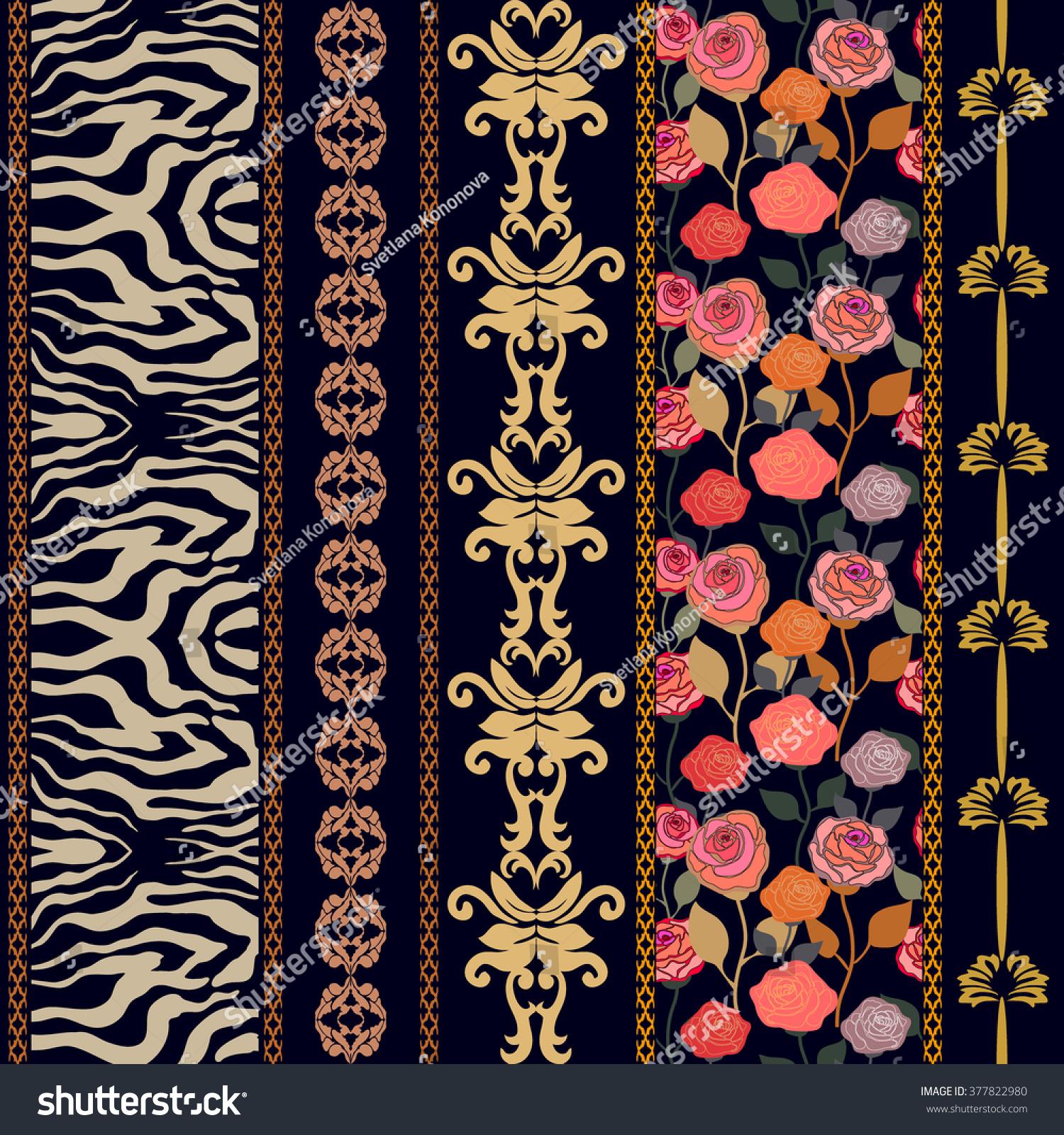 art deco vintage silk wallpaper ethnic stock vector 377822980 shutterstock. Black Bedroom Furniture Sets. Home Design Ideas