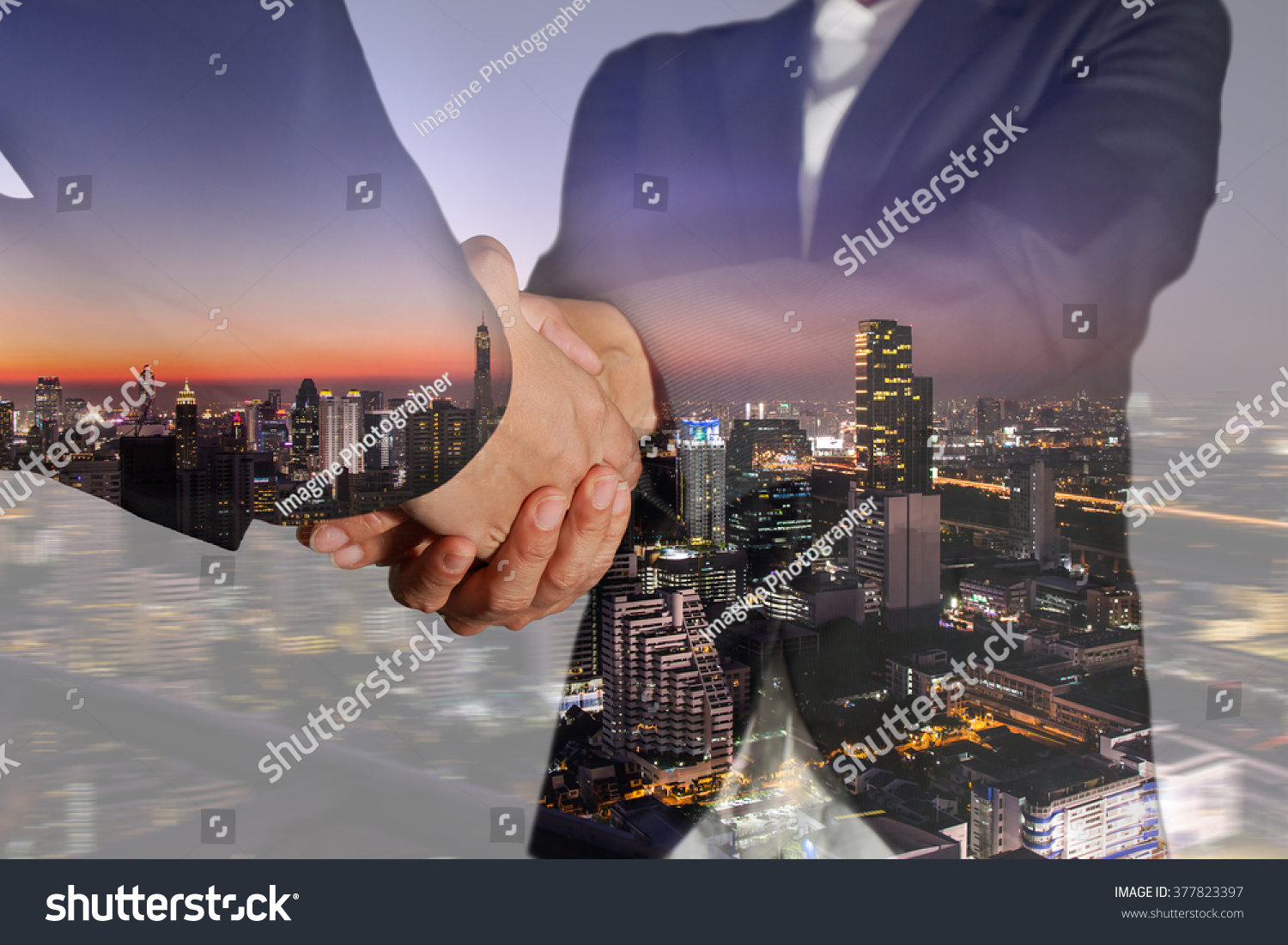 Double exposure of business women double handshake night street and city on camera zoom background as welcome concept. #377823397