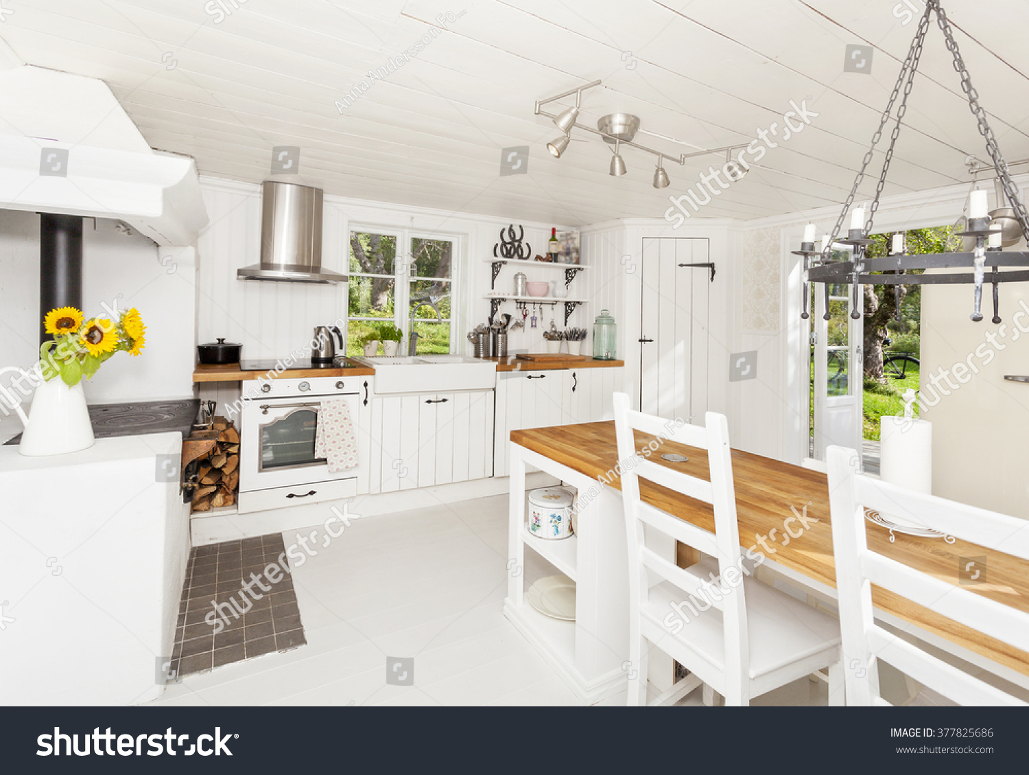interior kitchen countryside white wooden floor stock photo 377825686 shutterstock. Black Bedroom Furniture Sets. Home Design Ideas