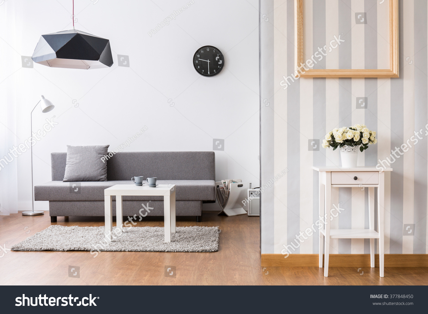 Stylish Living Room Grey Sofa Small Stock Photo 377848450 ...