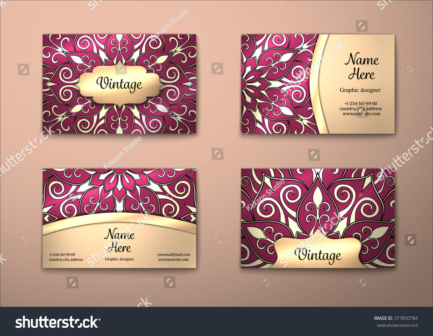 Vector Vintage Business Card Set Floral Stock Vector 377850784 ...