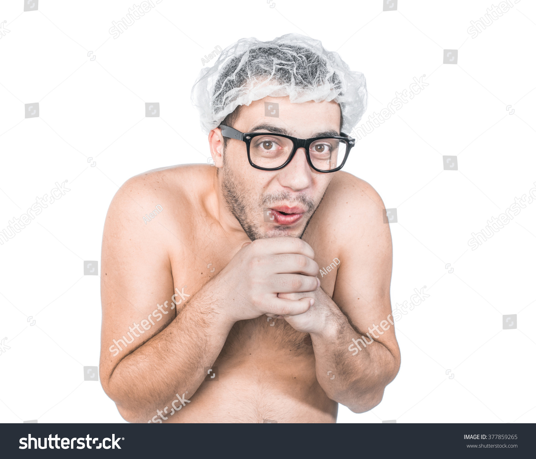 funny bare man going bathroom close stock photo 377859265
