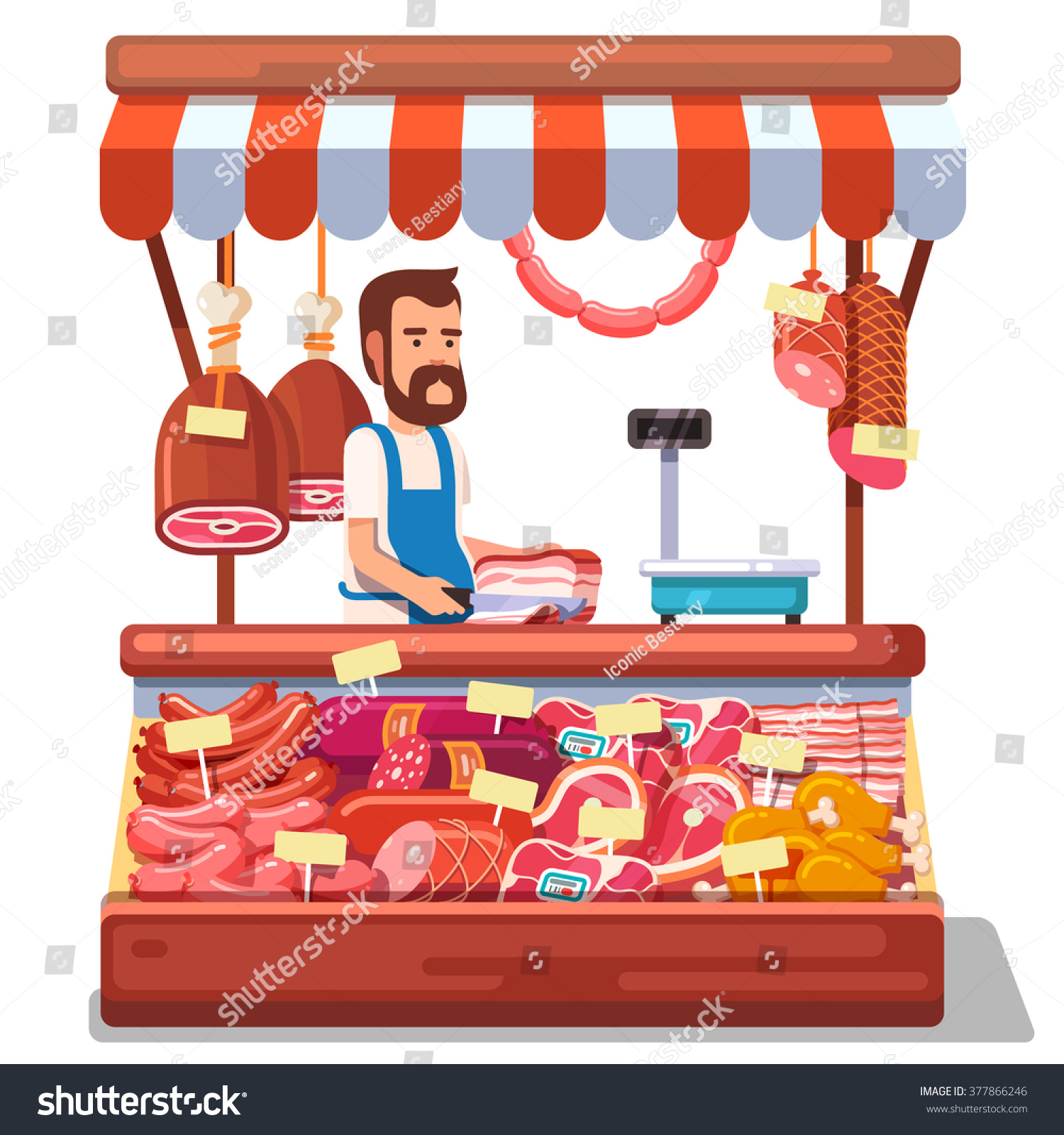 Local Market Farmer Selling Fresh Meat Stock Vector 377866246 ...