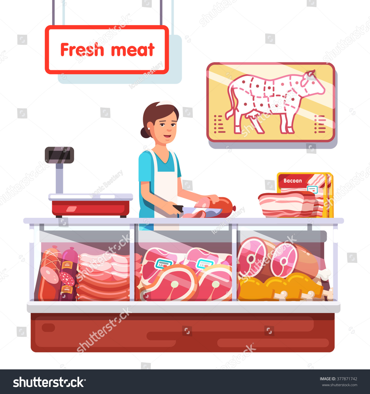 fresh meat stand supermarket s clerk stock vector  fresh meat stand in a supermarket s clerk w worker slicing meat modern flat