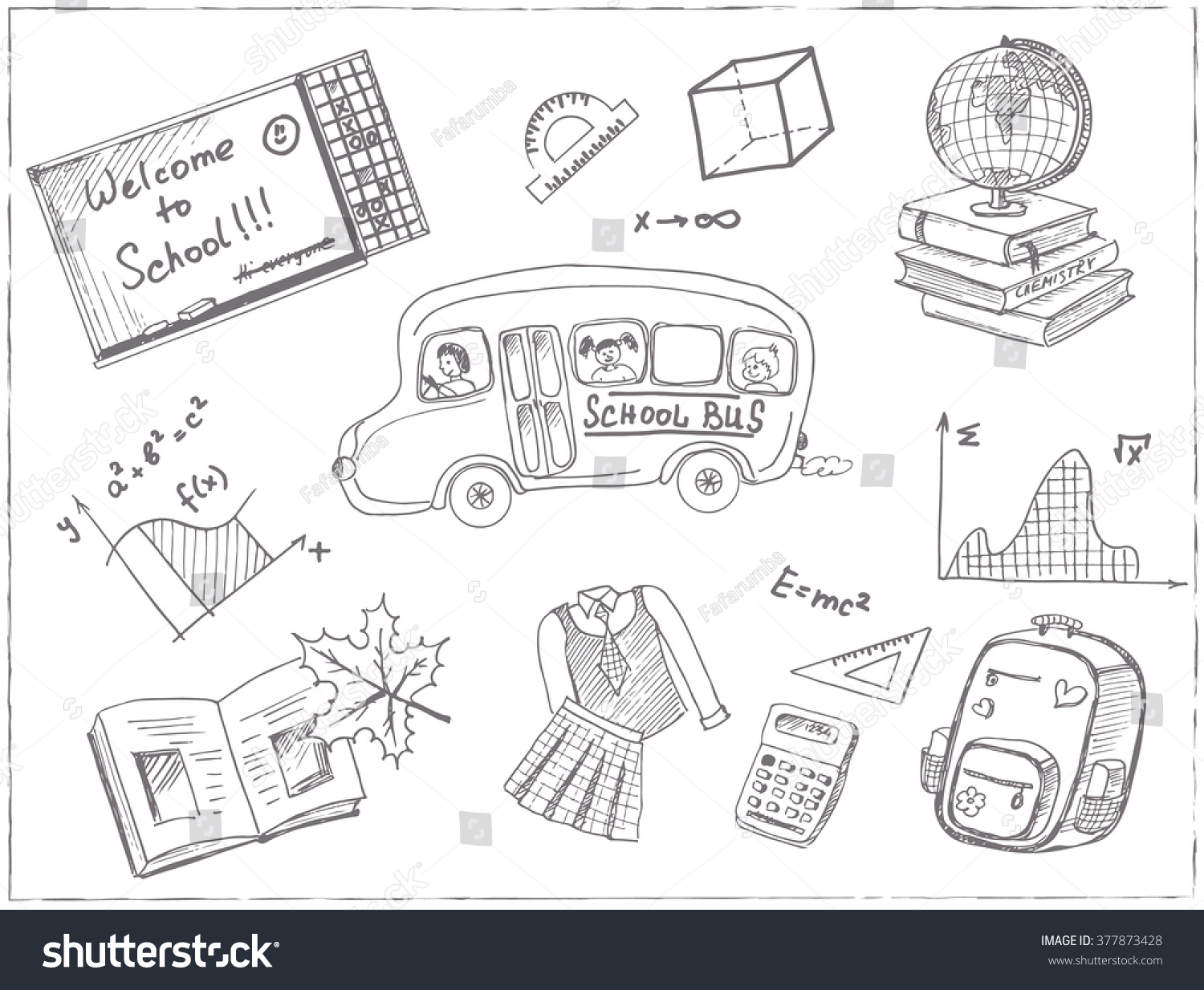 Set school drawings sketches handdrawing vector stock for Drawing packages