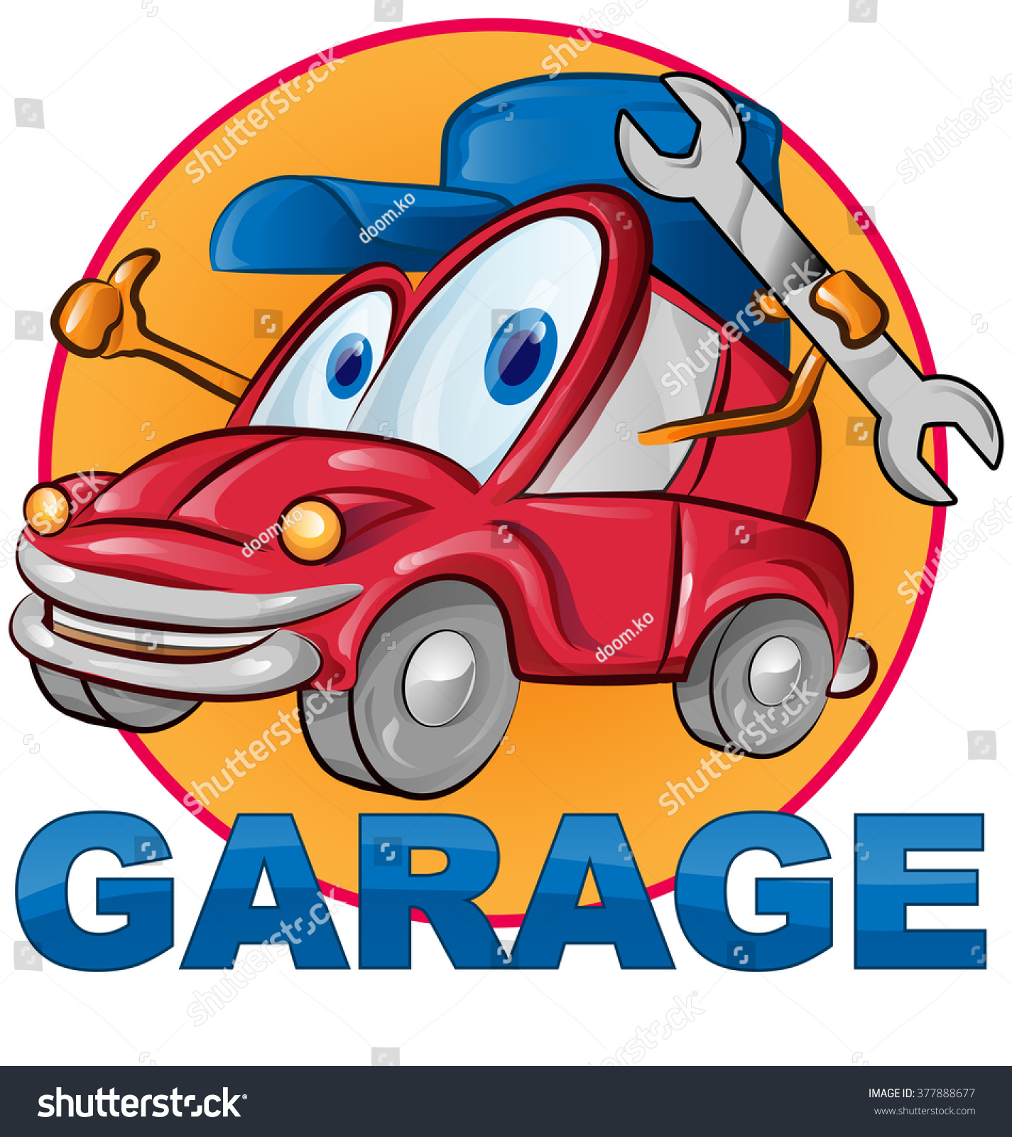 Car garage symbol cartoon on white background stock vector for Garage happy car