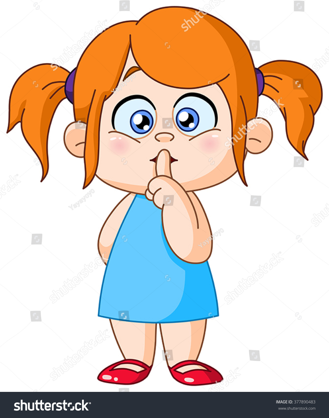 Stock Vector Young Girl With Finger On Lips Making The Silence Sign on Lips Zipped Clip Art Animated