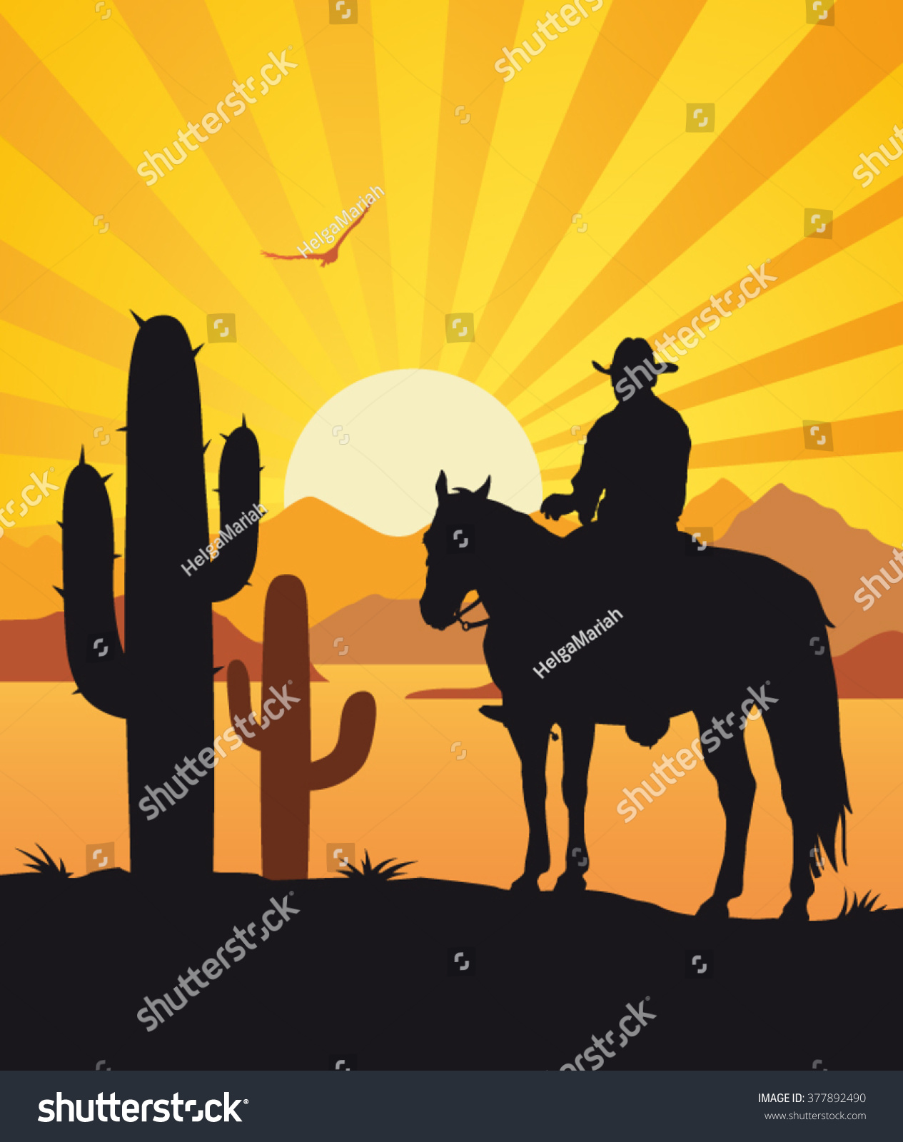 american cowboy with horse wild west sunset landscape background