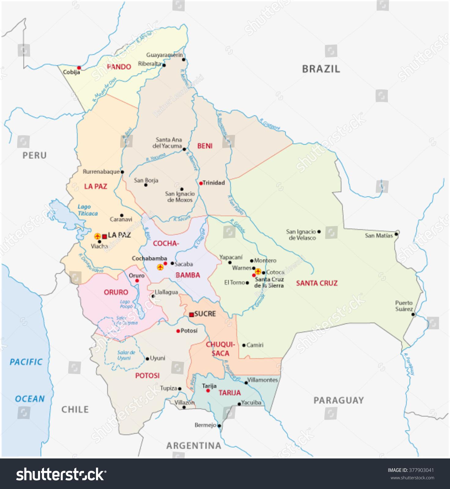 Bolivia Administrative Map Stock Vector 2018 377903041 Shutterstock