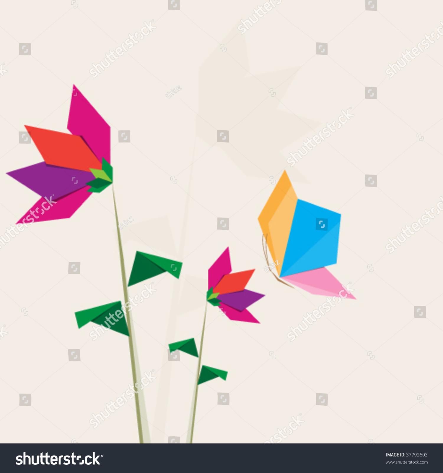Flat Flower Butterfly Illustration Stock Vector 37792603 Shutterstock