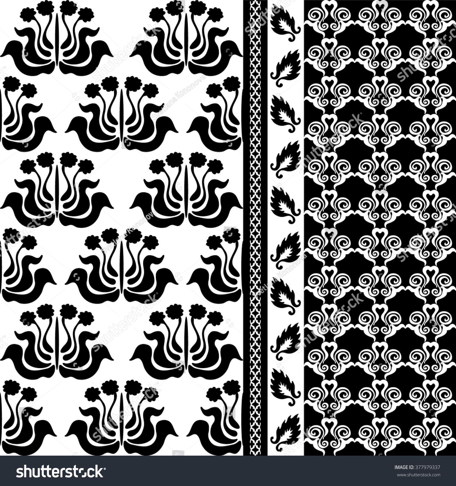 creative black white damask wallpaper set stock vector