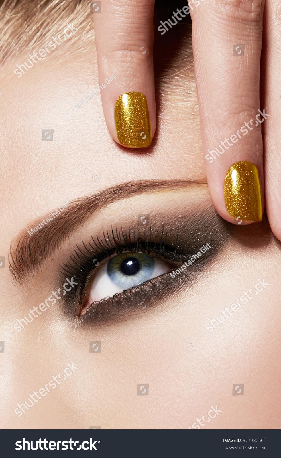 Beauty Close Up Smokey Eye Makeup Stock Photo Edit Now 377980561