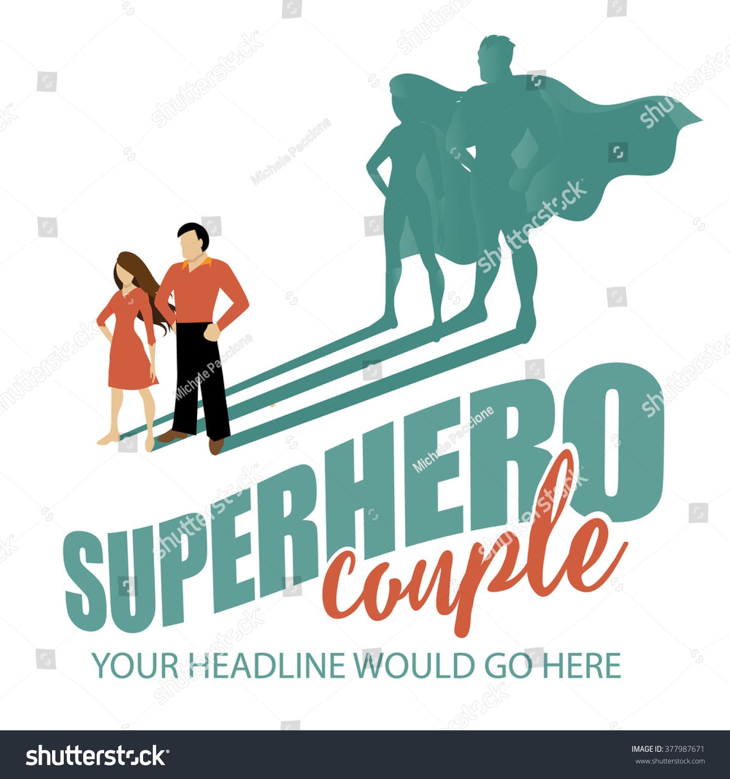 superhero couple design template eps 10 のベクター画像素材