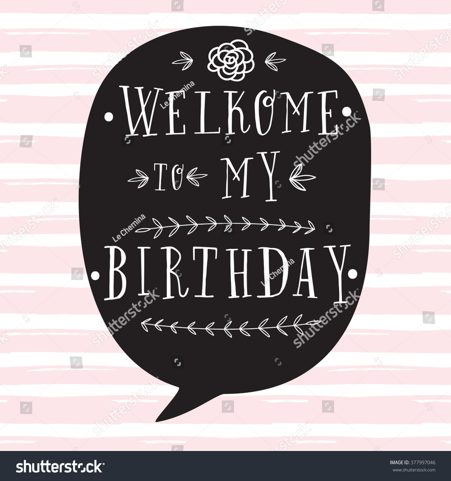 Hand Lettering Birthday Greeting Card Birthday Vector – Welcome Party Invitation Cards