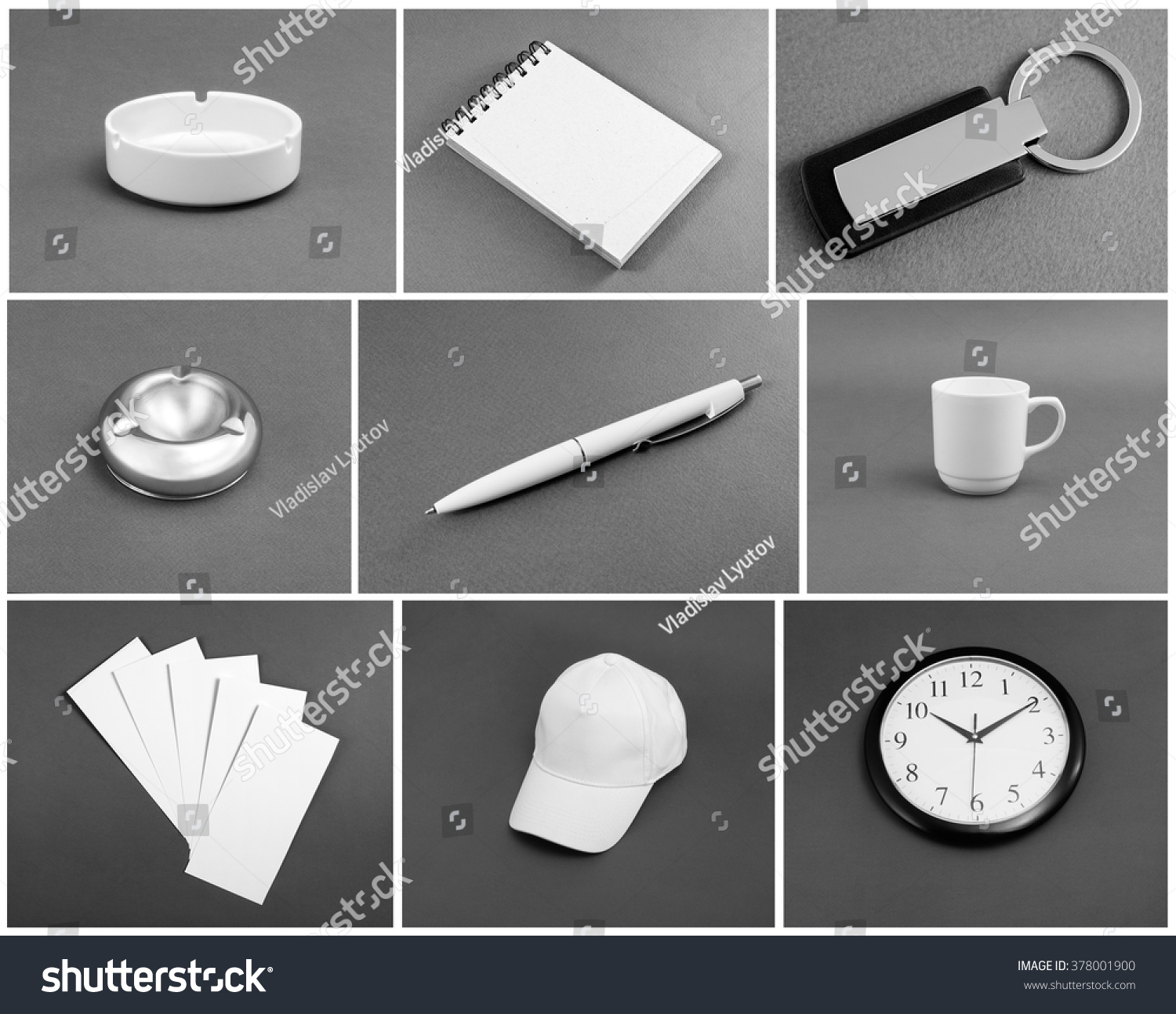 Set of white corporate identity template on gray background #378001900