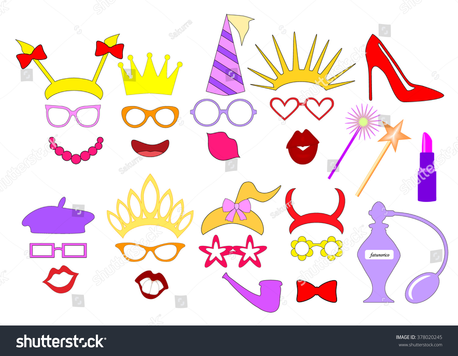 Henparty Ideas Photo Booth Props Elements Stock Vector 378020245 ...