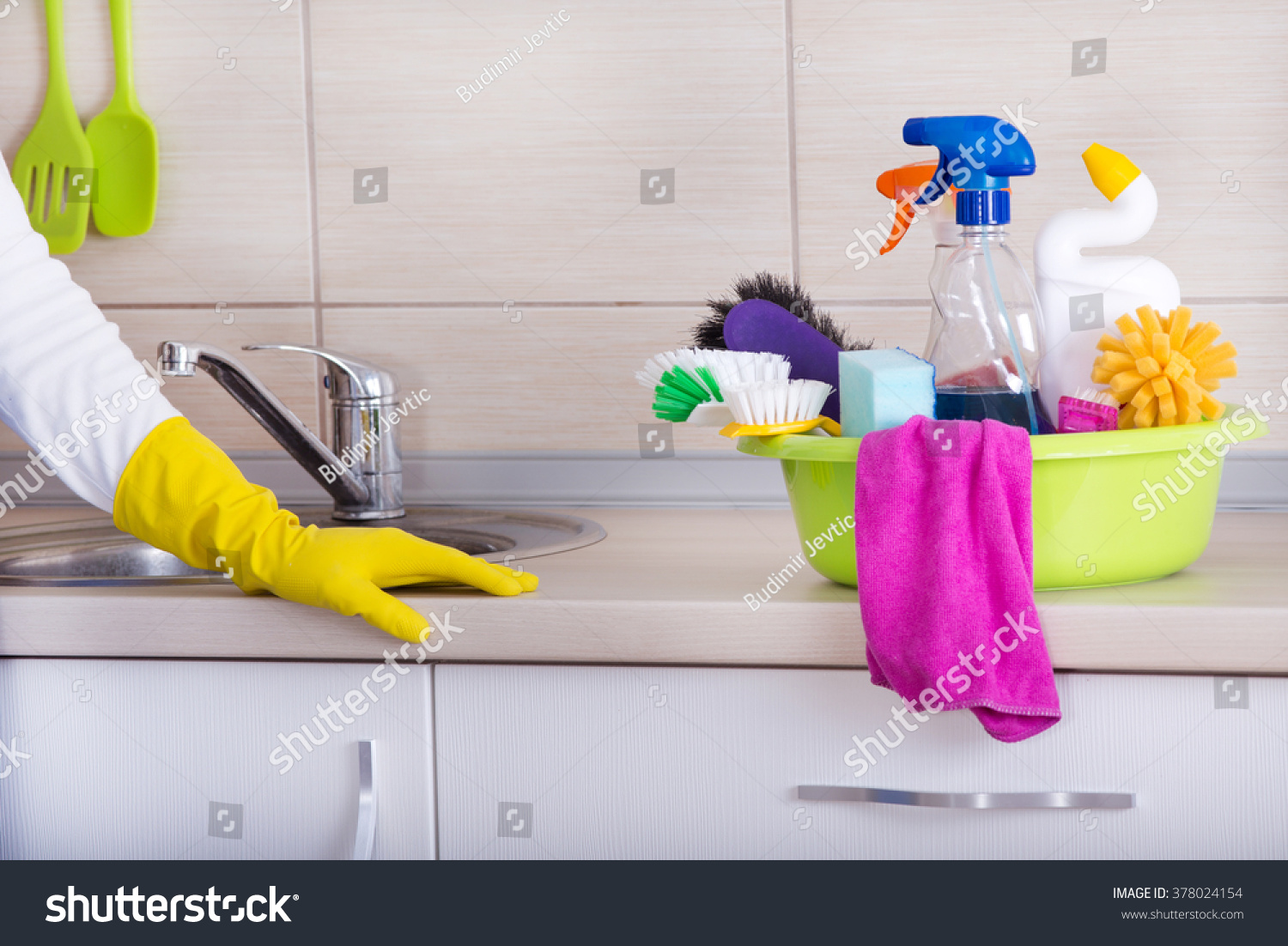 Cleaning Supplies Washbasin Standing On Cleaned Stock Photo - Bathroom cleaning lady