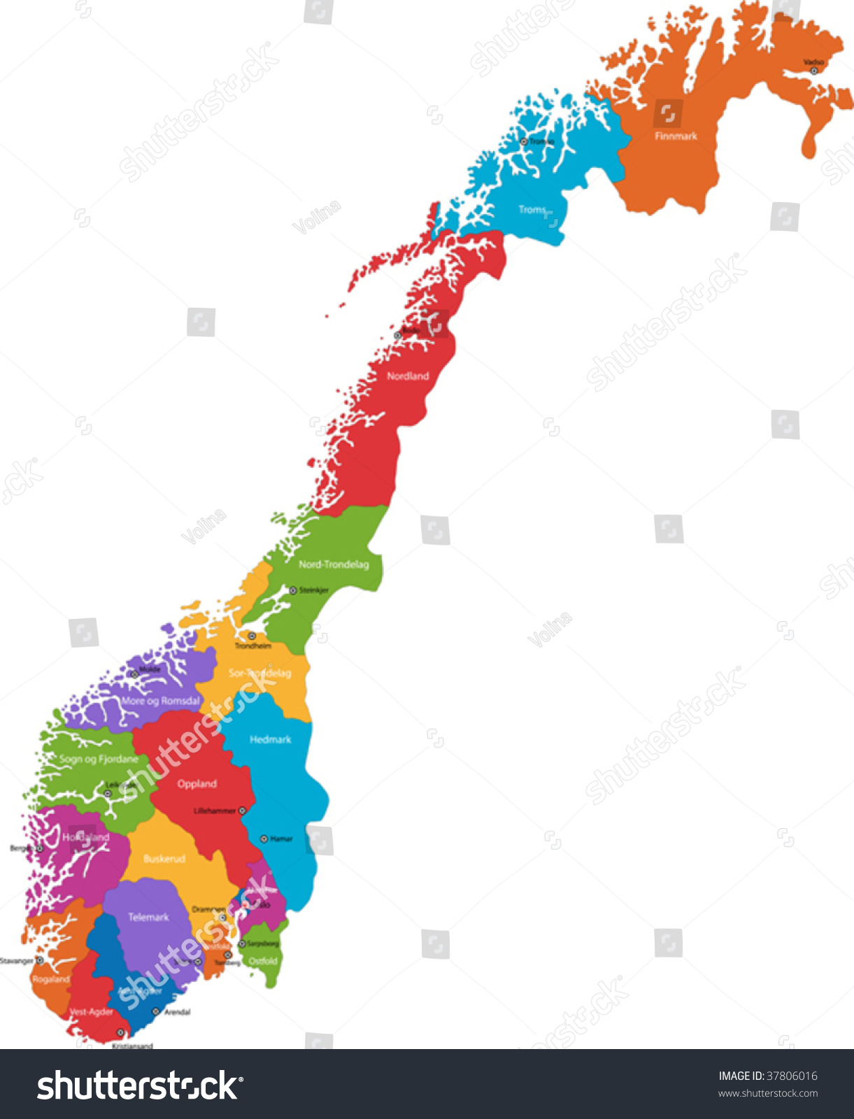 Map Administrative Divisions Norway Capital Cities Stock Vector - Norway map cities