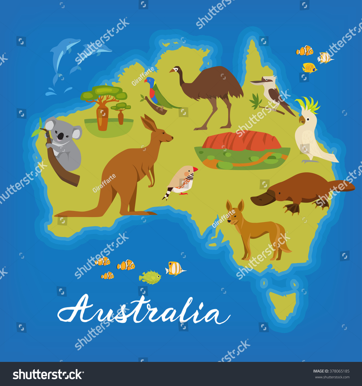 Australia Map Cute Animals Vector Poster Vector 378065185 – Austrlia Map