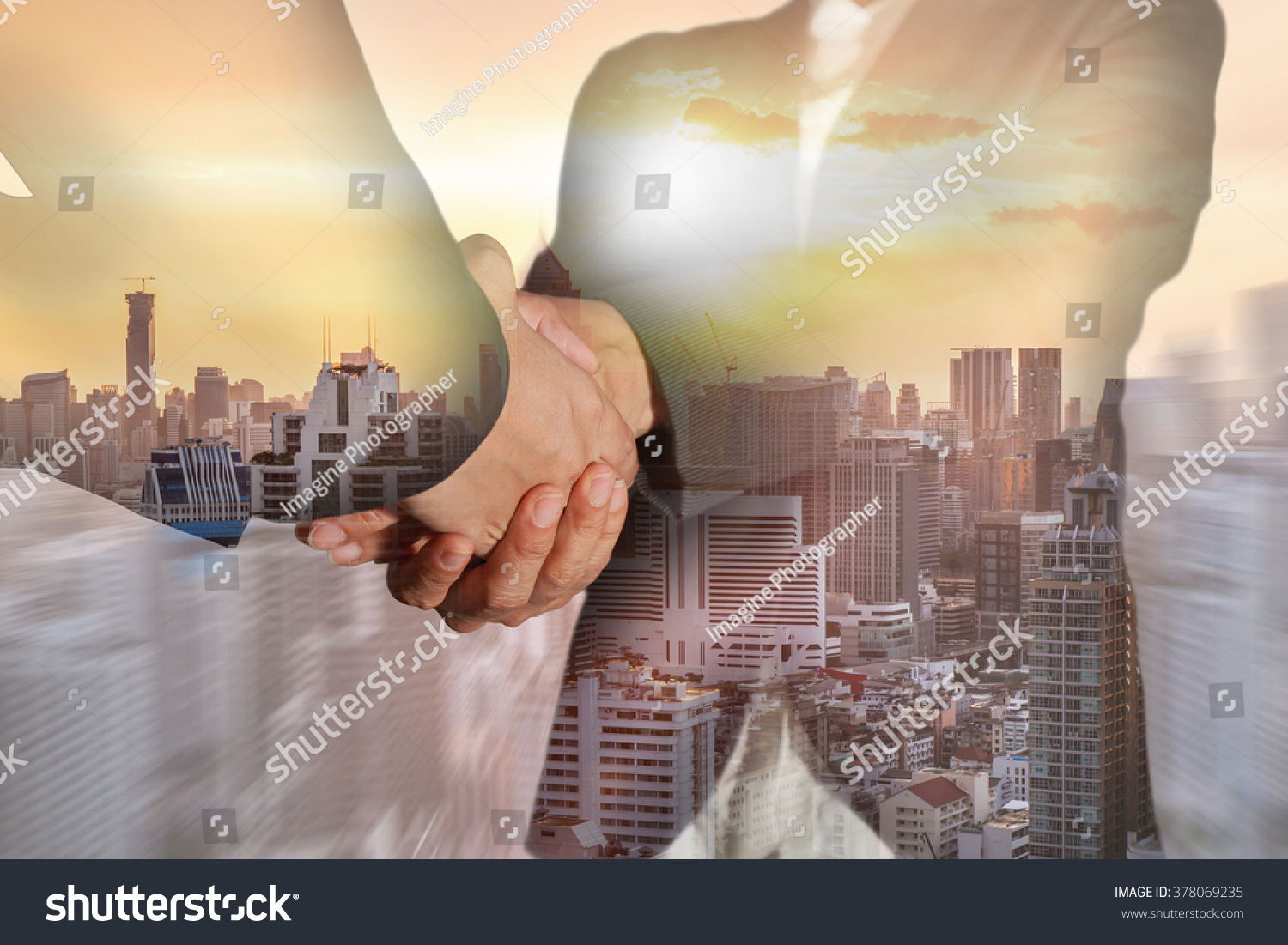 Double exposure of business women double handshake, city and sunset on camera zoom background as Welcome concept. #378069235