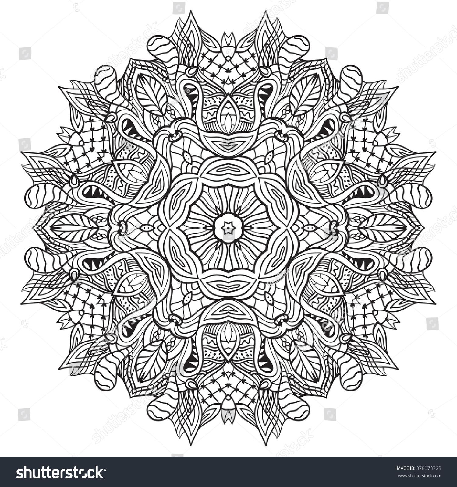 Adult Coloring Page Mandala Vector Art Stock Vector