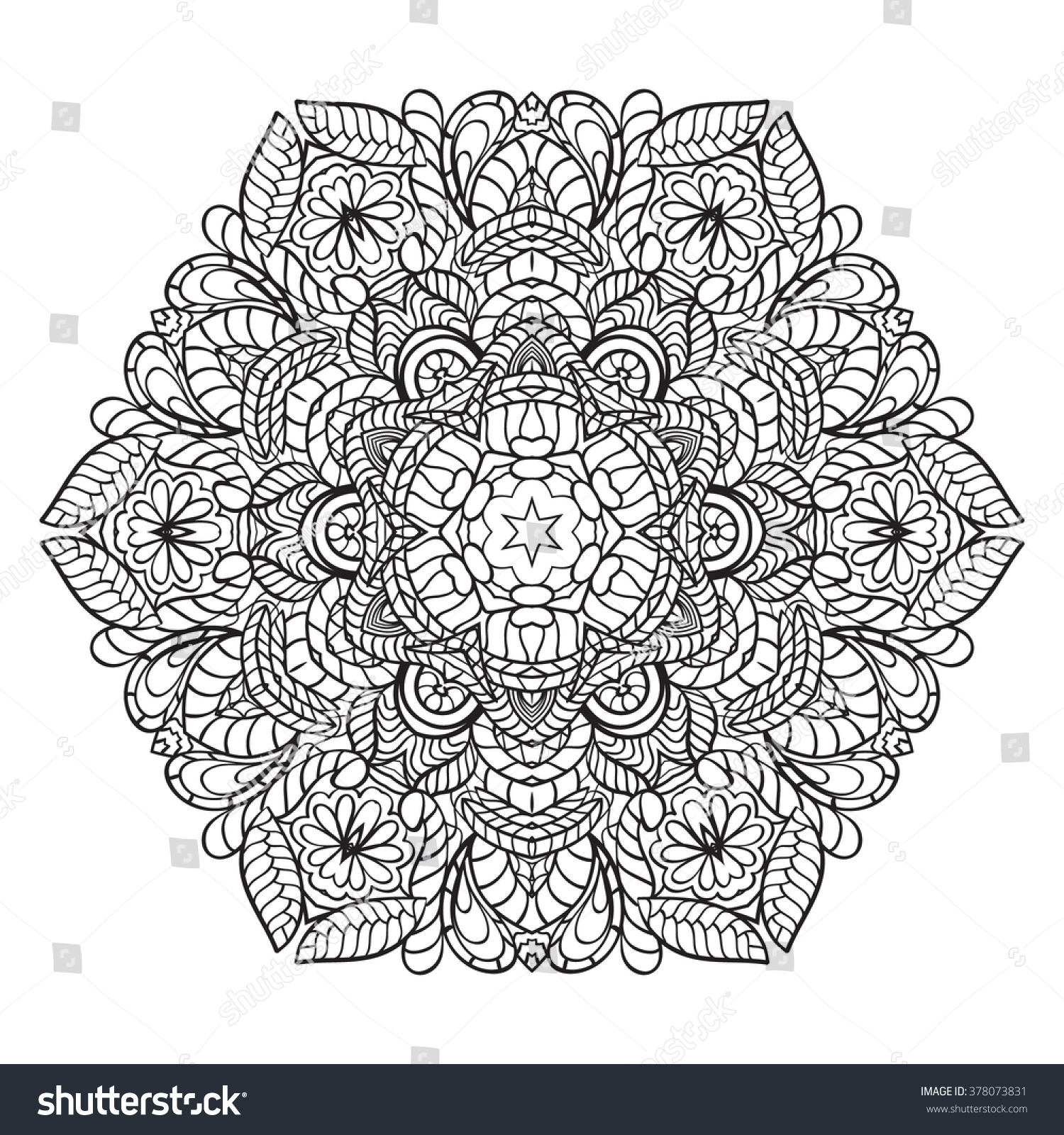 Adult Coloring Page Mandala Vector Art Vector de stock378073831 ...