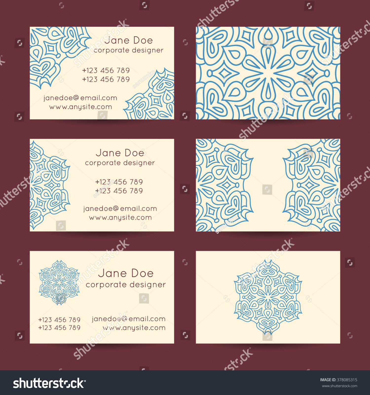 Vector Set Vintage Business Card Template Stock Vector 378085315 ...