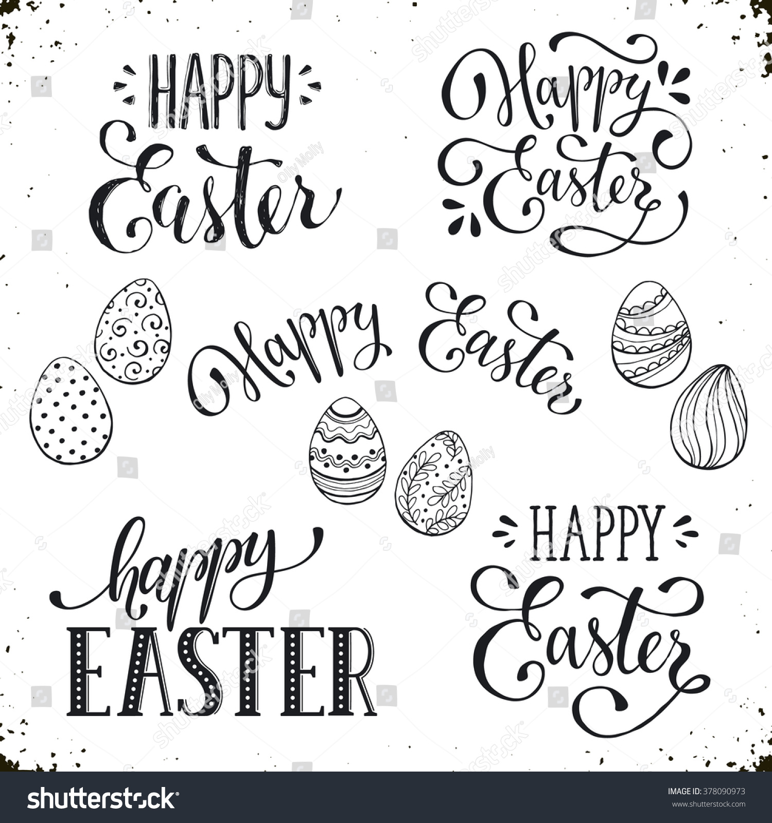 Hand written easter phrases greeting card stock vector 378090973 hand written easter phrases eeting card text templates with easter eggs isolated on white background m4hsunfo