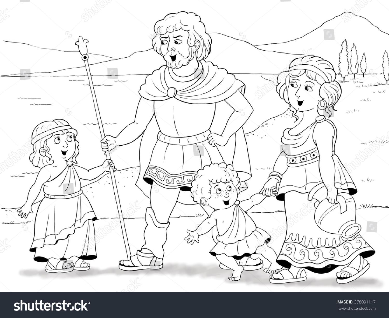 history family history fashion family ancient stock illustration