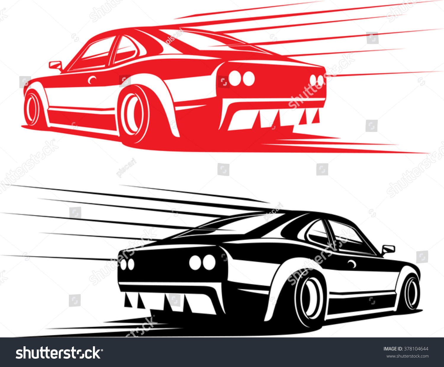 Simple car sticker design - Red And Black Fast Sport Car Silhouettes Isolated On White Simple Design Great To