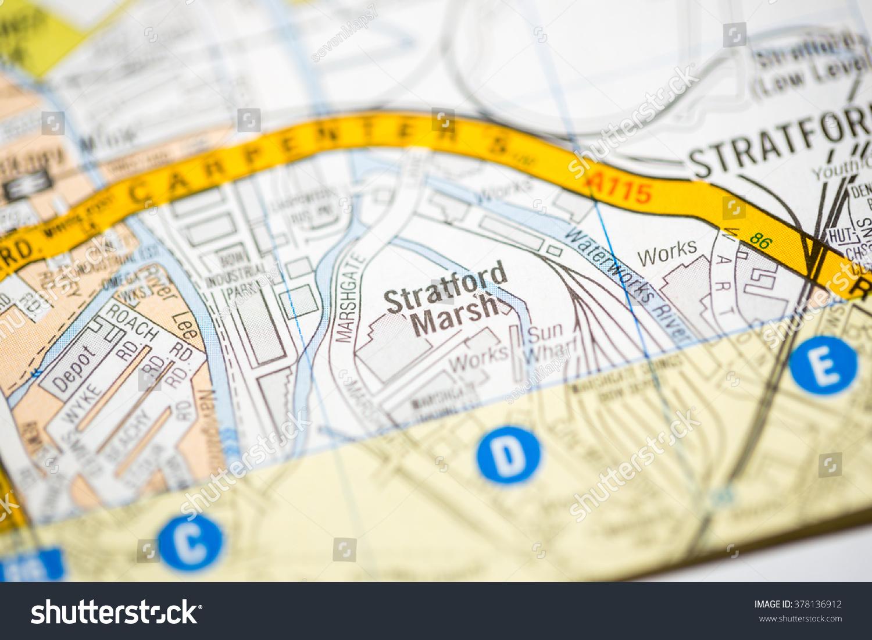 Stratford Marsh London Uk Map Stock Photo Royalty Free 378136912