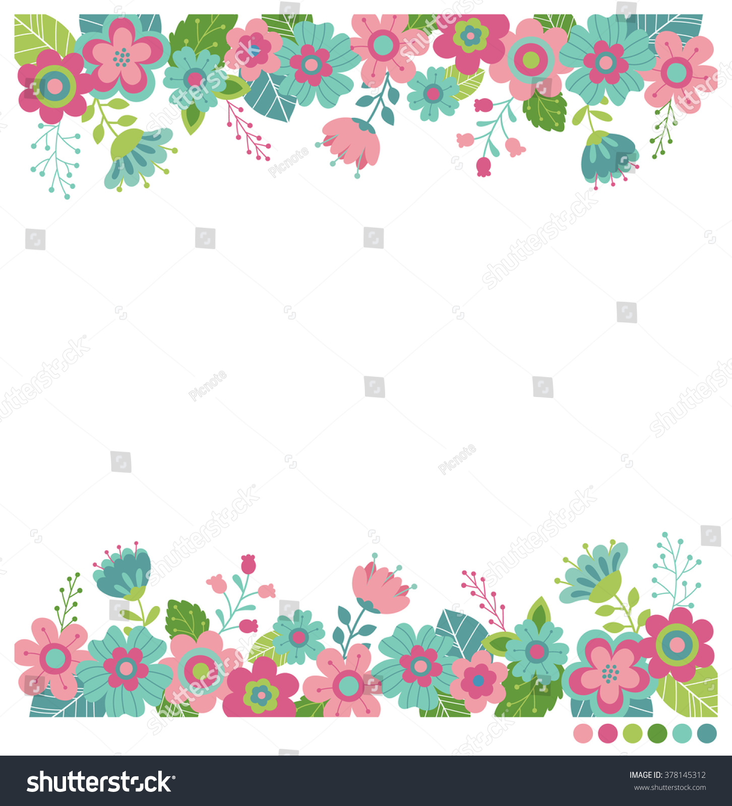 Cute Flowers Border Vector Invitation Wedding Stock Vector
