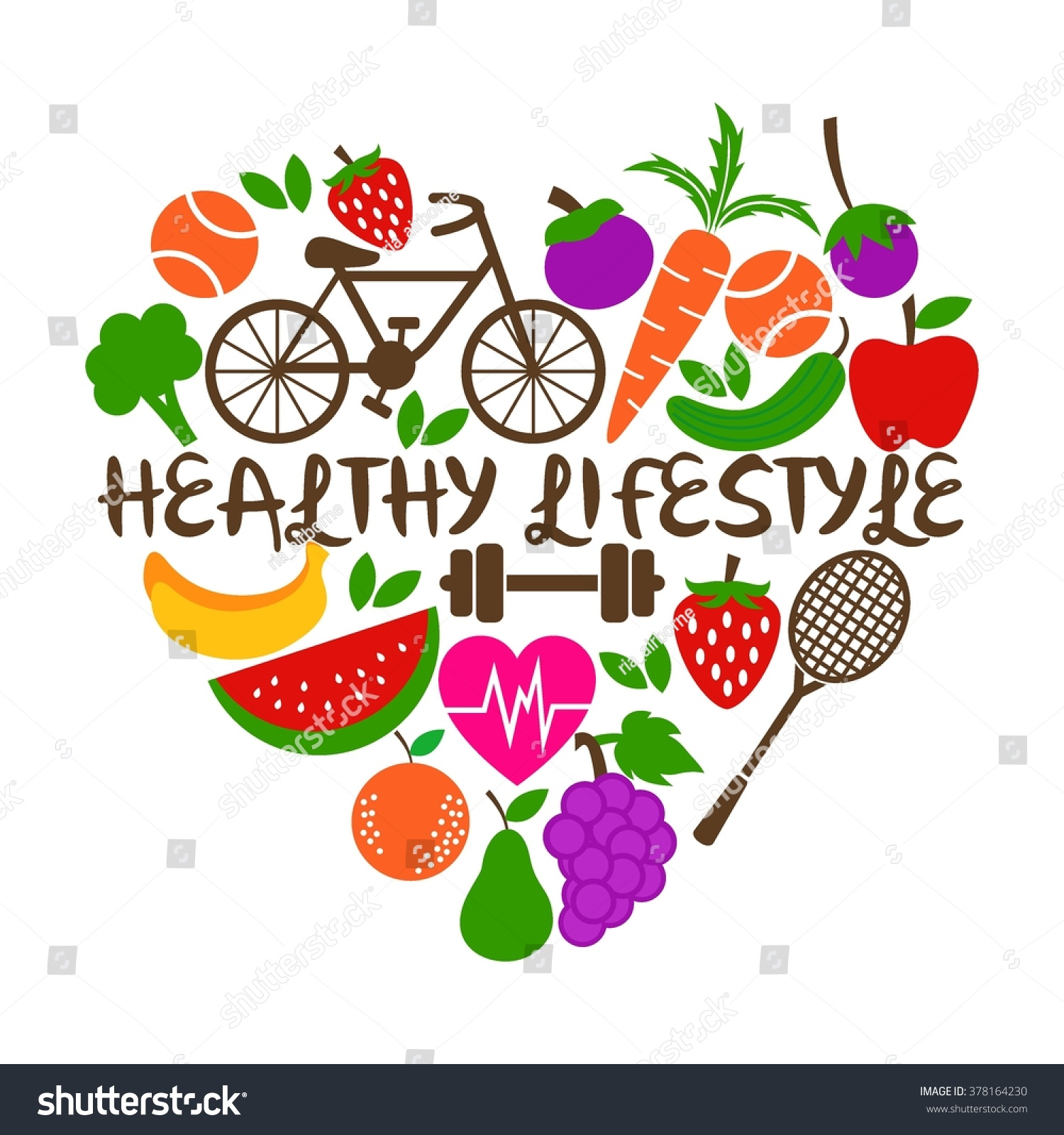 healthy lifestyle poster template stock vector 378164230