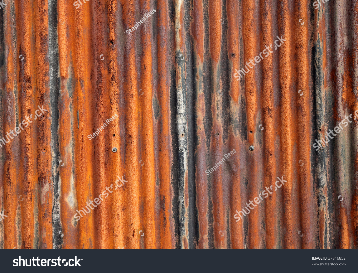 Rusty Old Corrugated Iron Fence Close Up Stock Photo