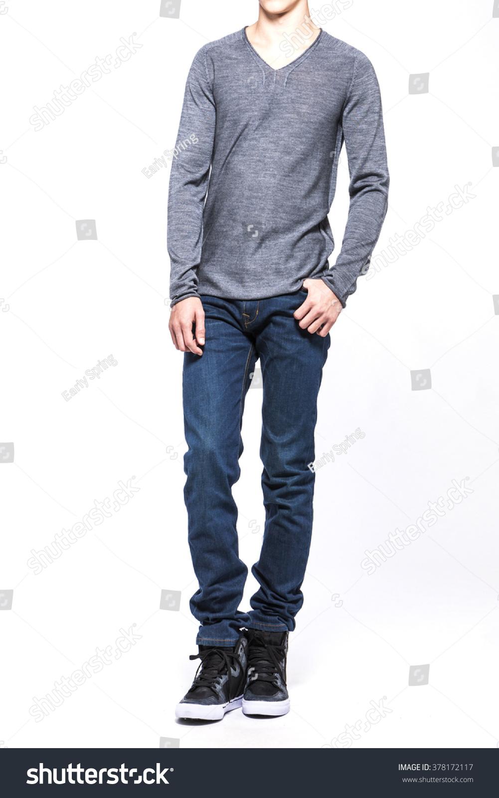 Manmale Boy Wearing Blue Denimjeans Trousers Stock Photo Edit Now