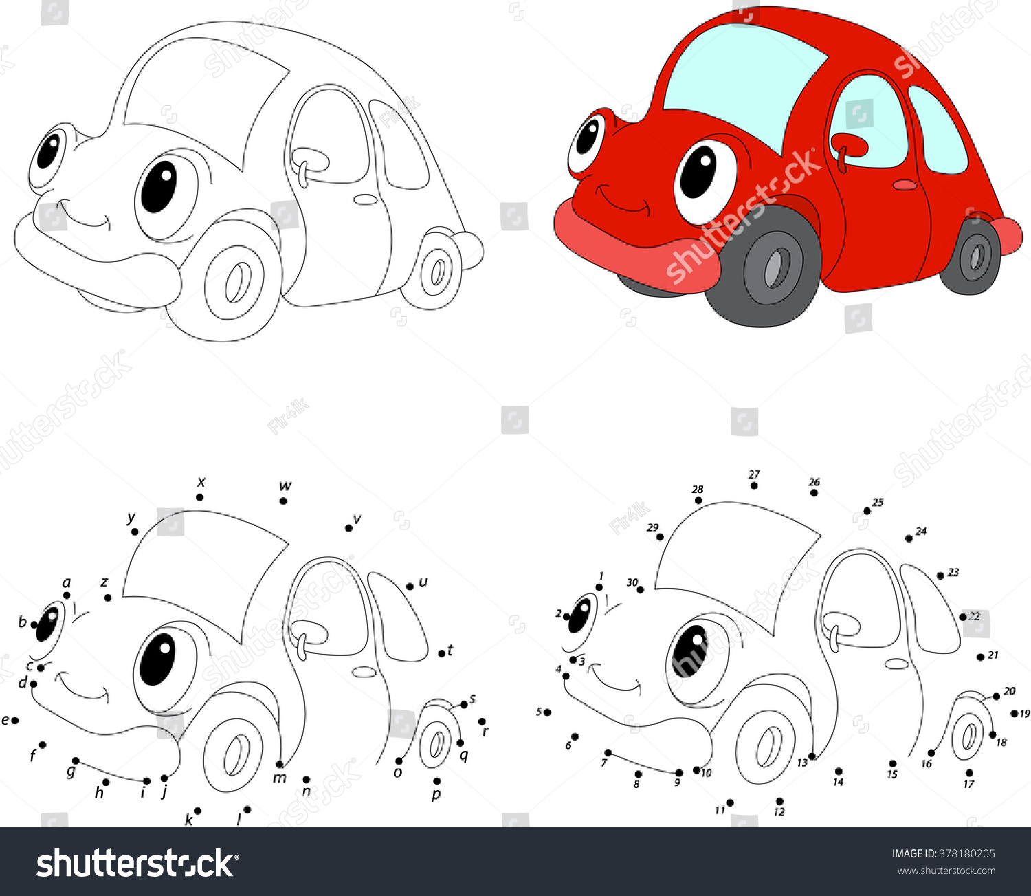 Coloring car games - Cartoon Red Car Illustration Coloring And Dot To Dot Educational Game For Kids