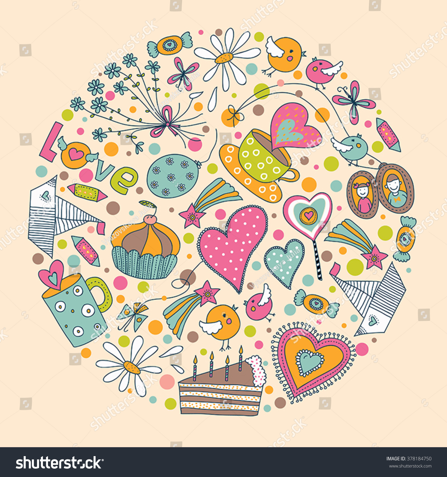 Valentines Day Around Motif Heart Flowers Stock-Vektorgrafik ...