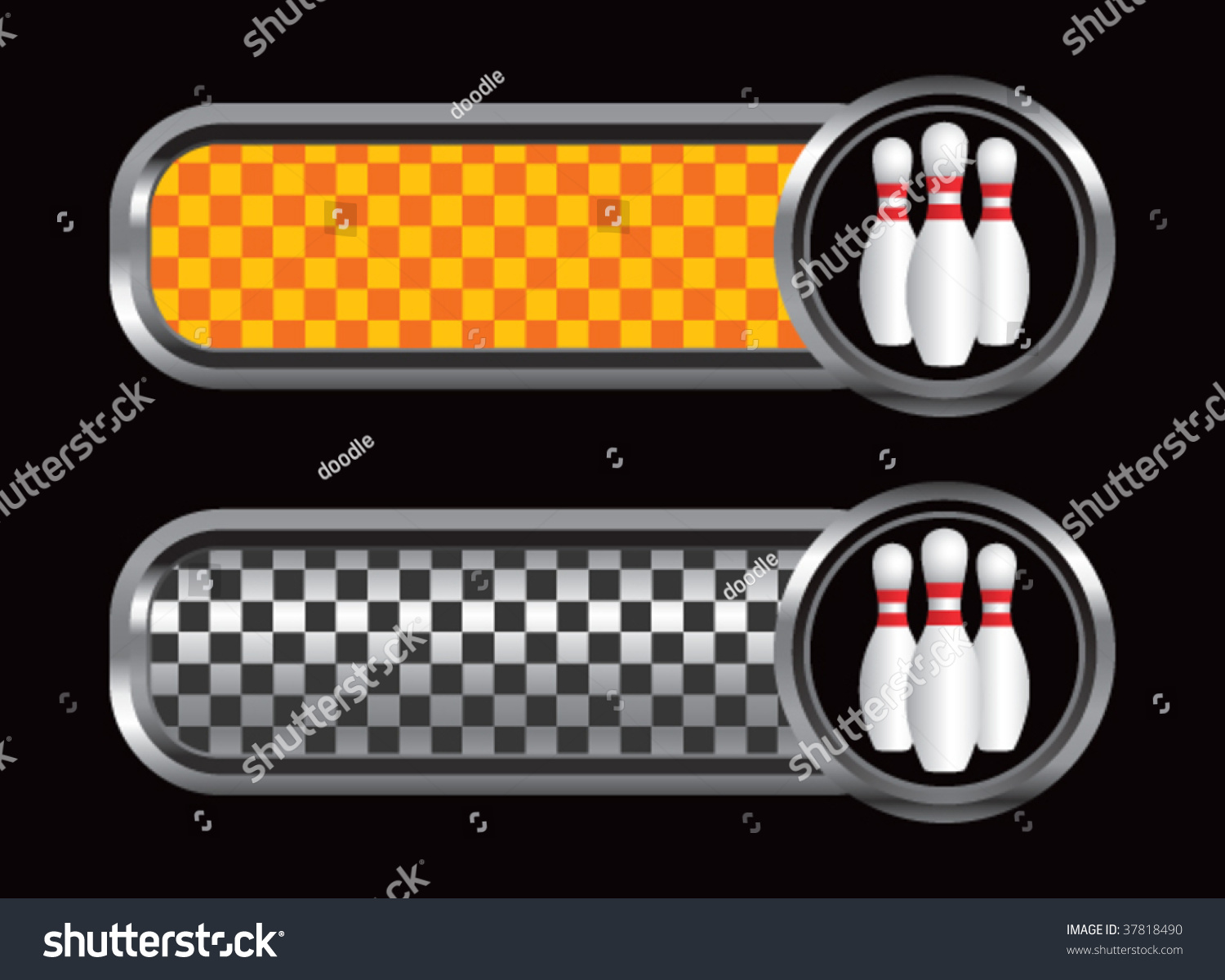 Bowling Pins On Diamond Textured Banners Stock Vector
