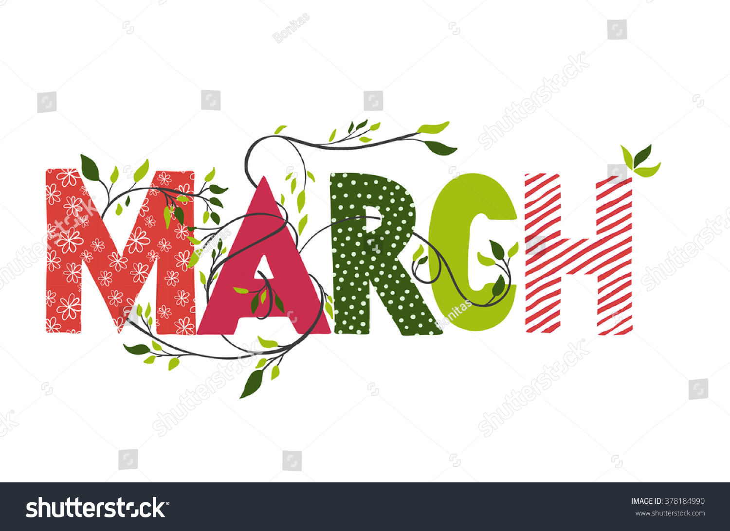 march month name lettering branches stock vector