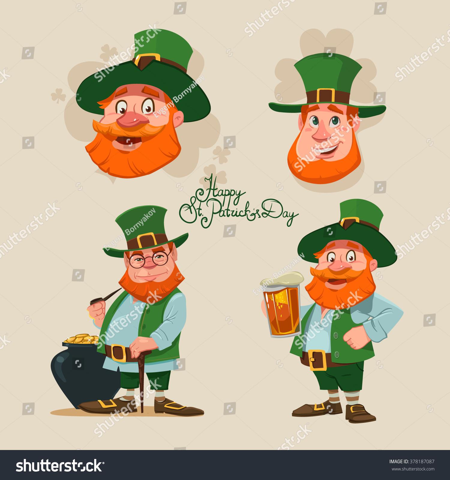 Leprechaun Set Irish Man Head Beard Stock Vector 378187087 ...