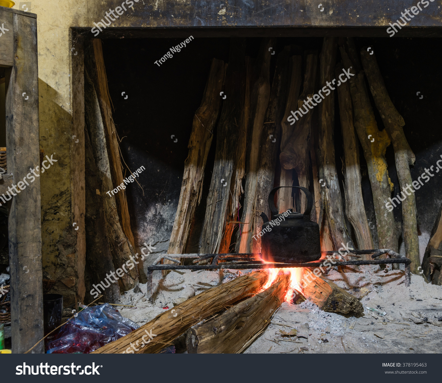 closeup view traditional fireplacekitchen bunch burning stock