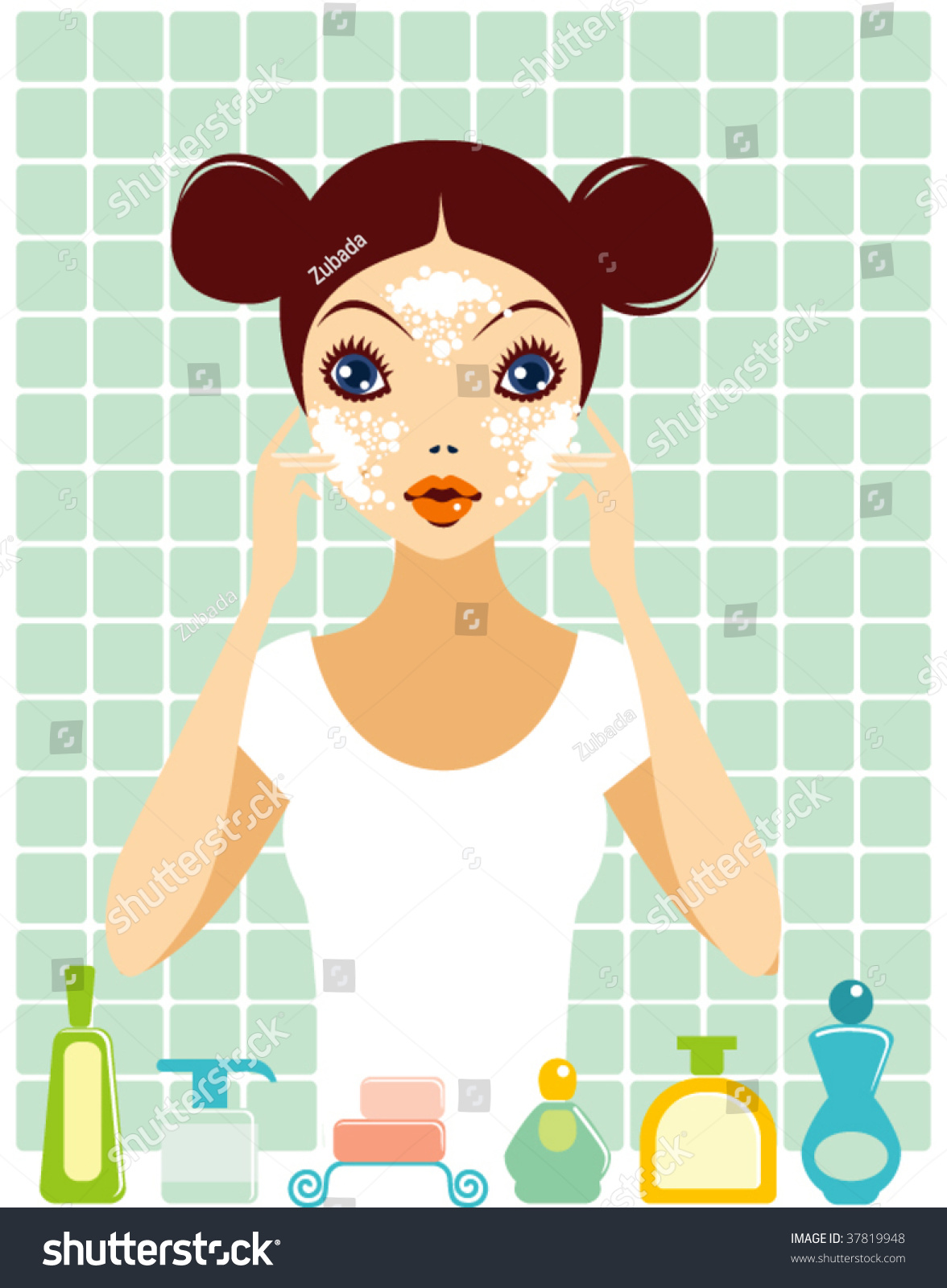 Washing face clipart