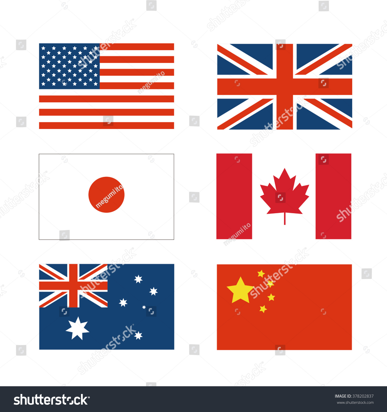 Set National Flag Japan China America Stock-Vektorgrafik (Lizenzfrei ...