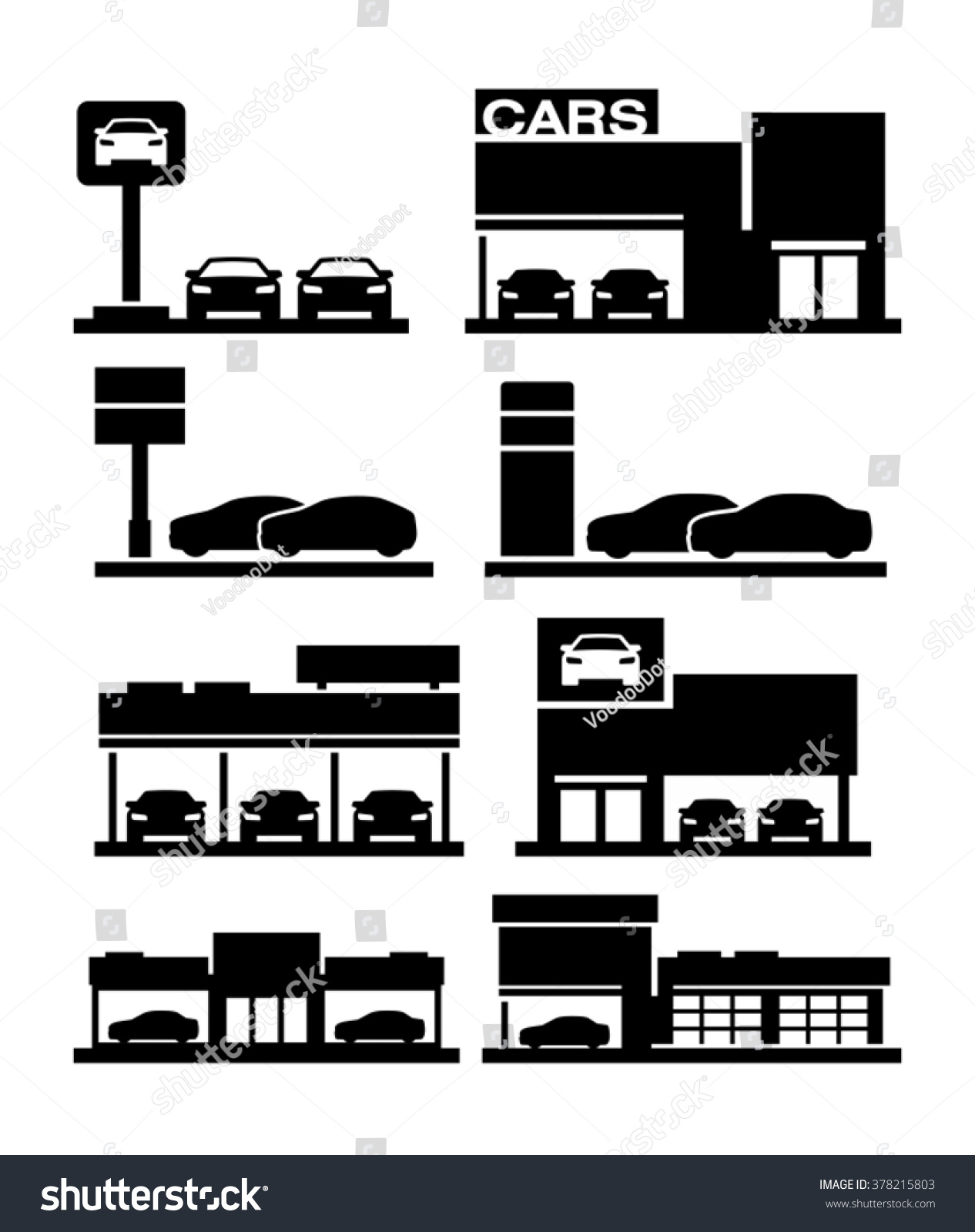 car dealership store building icons stock vector 378215803