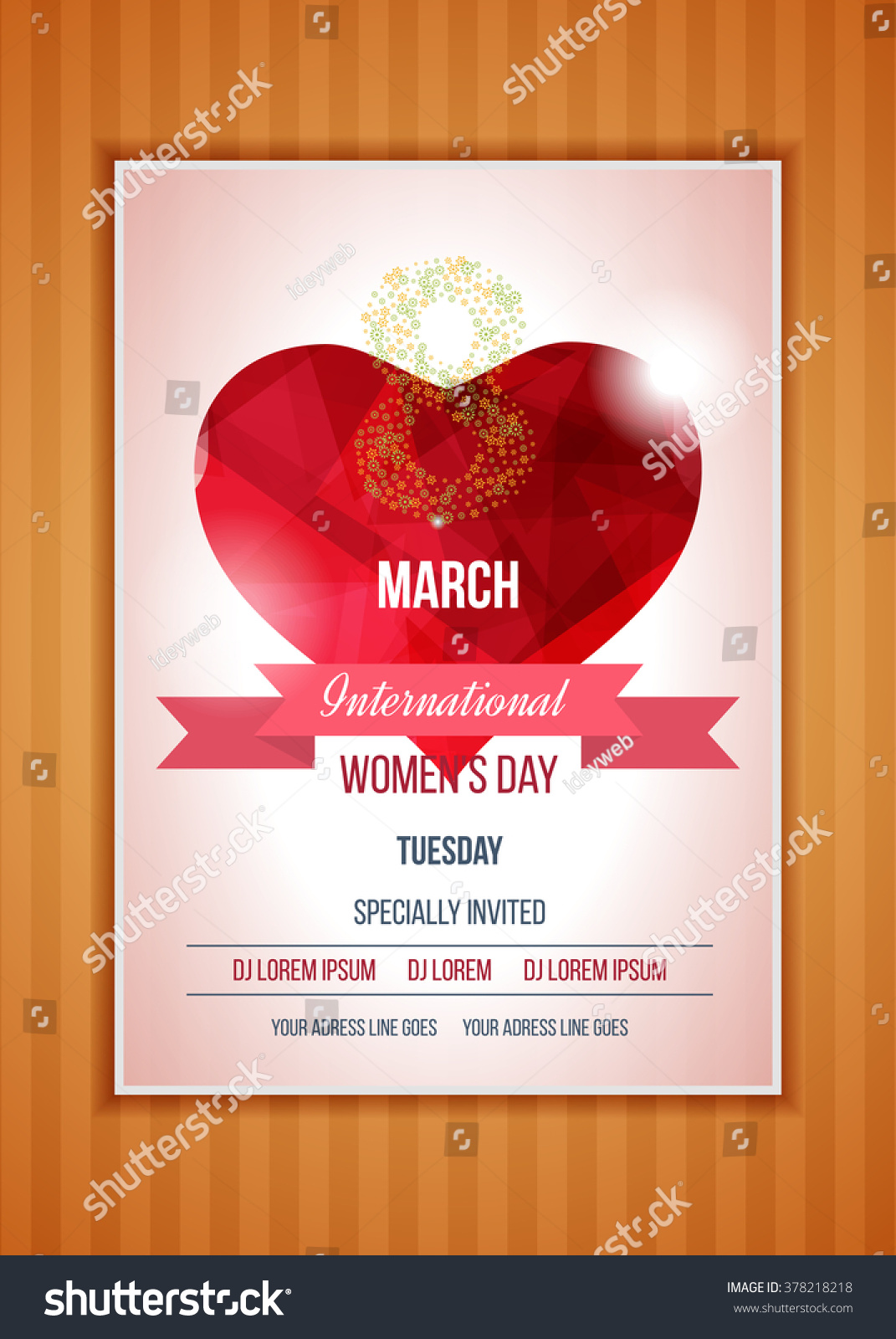 Happy Womens Day Party Flyer Heart Stock Vector 378218218 ...