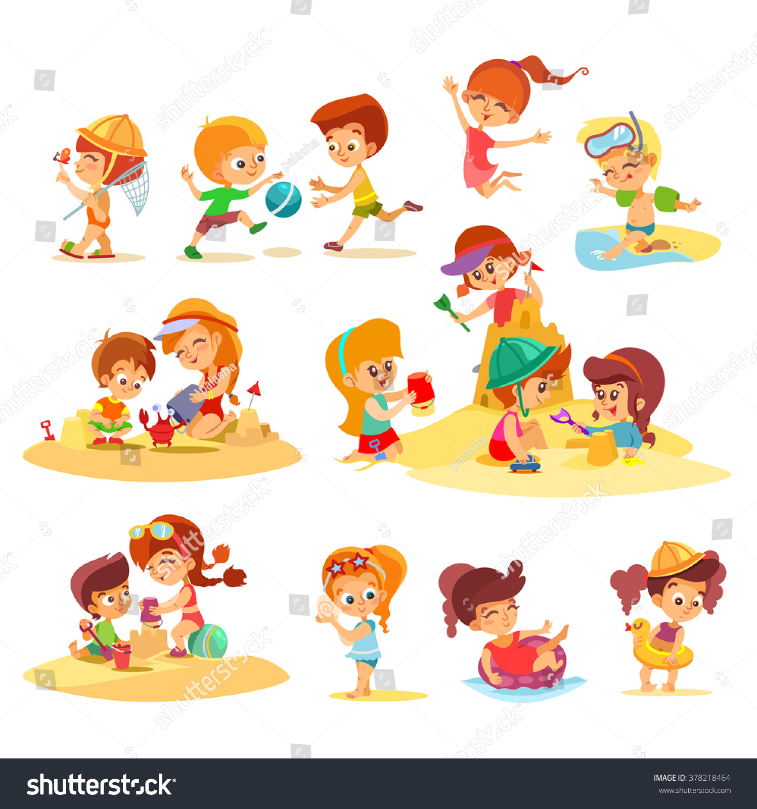Adorable Little Girl Playing With Beach Toys During: Big Set Cute Cartoon Kids Playing Stock Vector 378218464