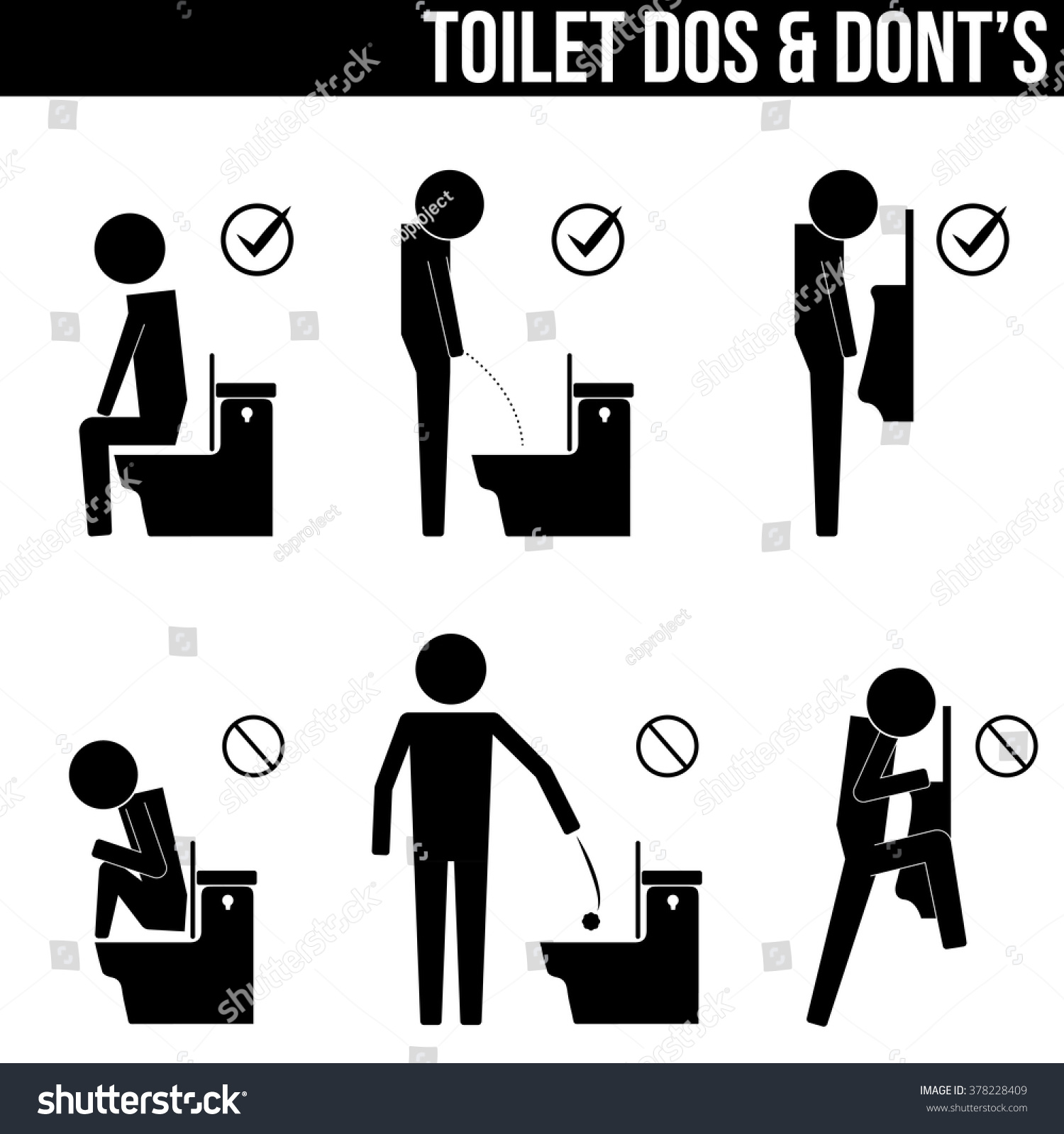 Toilet Do Donts Info Graphic Icon Stock Vector 378228409